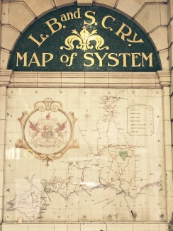 London Brighton South Coast Railway map in Victoria Station; The LB&SC Ry operated from 1860-1922