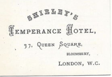 Shirley's Temperance Hotel in London - where the J.U.A.C. stayed the night before embarking for the Continent with Thomas Cook